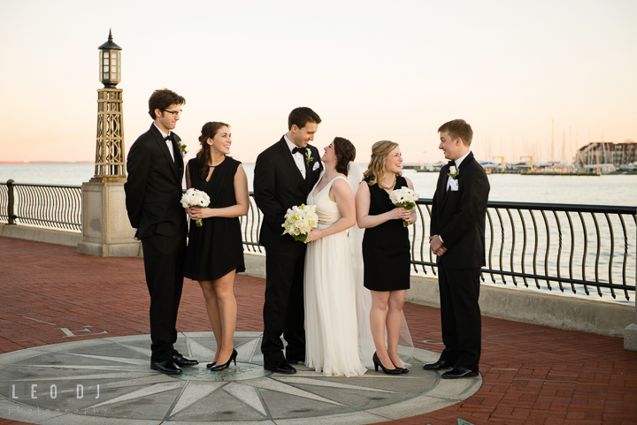 Group shot of Bride and Groom with their Bridal and Groom wedding party at the US Naval Academy. Historic Inns of Annapolis, Governor Calvert House wedding Maryland, by wedding photographers of Leo Dj Photography. http://leodjphoto.com