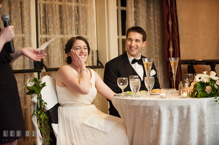 Bride and Groom laughing listening to toast speech from Maid of Honor. Historic Inns of Annapolis, Governor Calvert House wedding Maryland, by wedding photographers of Leo Dj Photography. http://leodjphoto.com