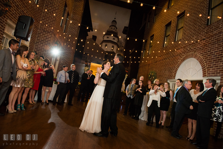 Bride dance with uncle during parent dance. Historic Inns of Annapolis, Governor Calvert House wedding Maryland, by wedding photographers of Leo Dj Photography. http://leodjphoto.com
