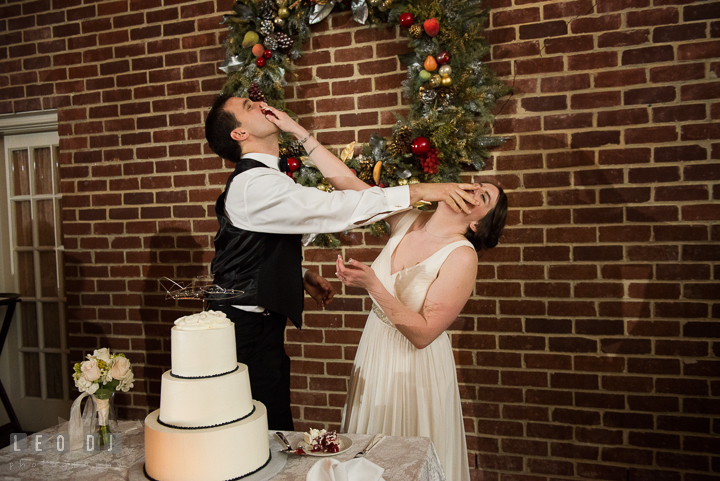 Bride and Groom smashing cakes to each other during the cake cutting. Historic Inns of Annapolis, Governor Calvert House wedding Maryland, by wedding photographers of Leo Dj Photography. http://leodjphoto.com