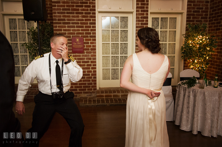 Bride dancing with her uncle. Historic Inns of Annapolis, Governor Calvert House wedding Maryland, by wedding photographers of Leo Dj Photography. http://leodjphoto.com