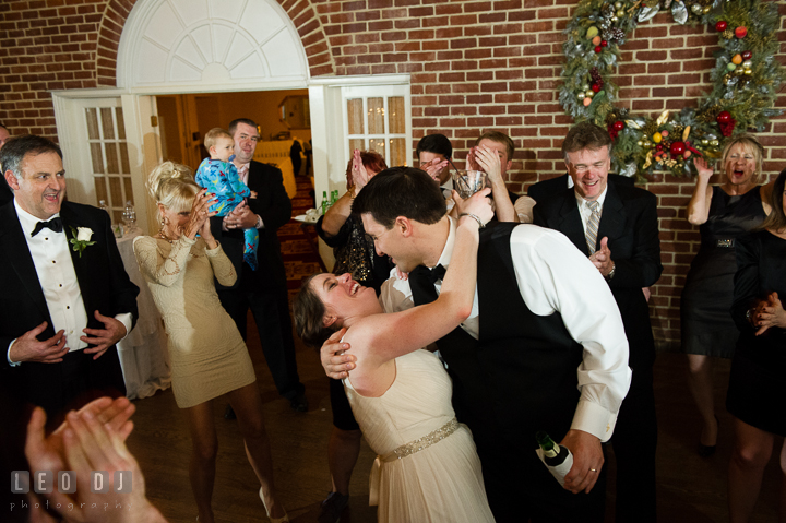 Bride dancing with Groom and doing the dip. Historic Inns of Annapolis, Governor Calvert House wedding Maryland, by wedding photographers of Leo Dj Photography. http://leodjphoto.com