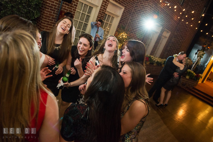 Bride and her friends singing to their favorite song played by Dj Chris Temple from C&J Entertainment. Historic Inns of Annapolis, Governor Calvert House wedding Maryland, by wedding photographers of Leo Dj Photography. http://leodjphoto.com