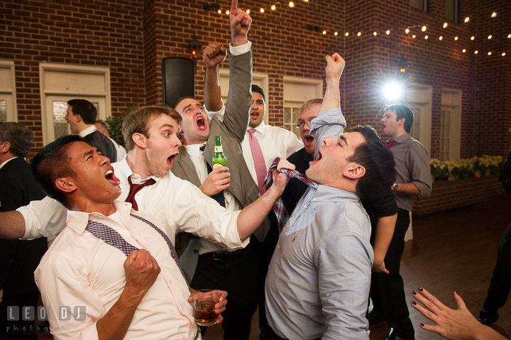 Guests singing their hearts out. Historic Inns of Annapolis, Governor Calvert House wedding Maryland, by wedding photographers of Leo Dj Photography. http://leodjphoto.com