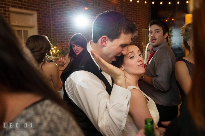 Bride and Groom having fun and dancing. Historic Inns of Annapolis, Governor Calvert House wedding Maryland, by wedding photographers of Leo Dj Photography. http://leodjphoto.com