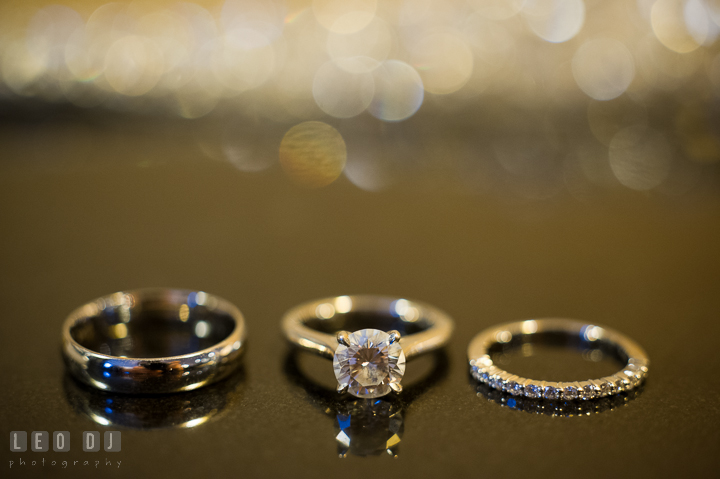 Close up detail shot of Bride and Groom's wedding bands and engagement ring. Falls Church Virginia 2941 Restaurant wedding ceremony photo, by wedding photographers of Leo Dj Photography. http://leodjphoto.com