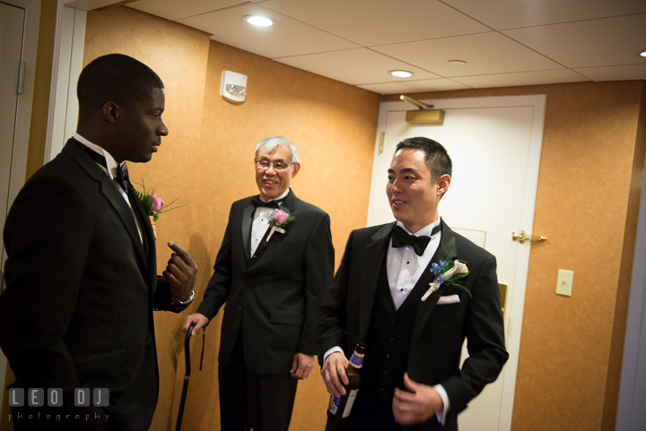 Groom, Best Man, and Father of Groom at hotel ready to depart. Falls Church Virginia 2941 Restaurant wedding ceremony photo, by wedding photographers of Leo Dj Photography. http://leodjphoto.com
