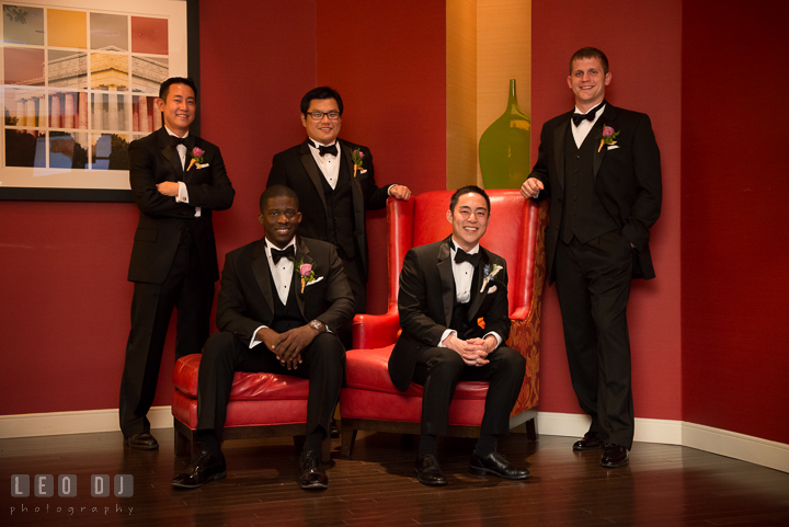Groom, Best Man and Groomsmen ready to depart to venue. Falls Church Virginia 2941 Restaurant wedding ceremony photo, by wedding photographers of Leo Dj Photography. http://leodjphoto.com
