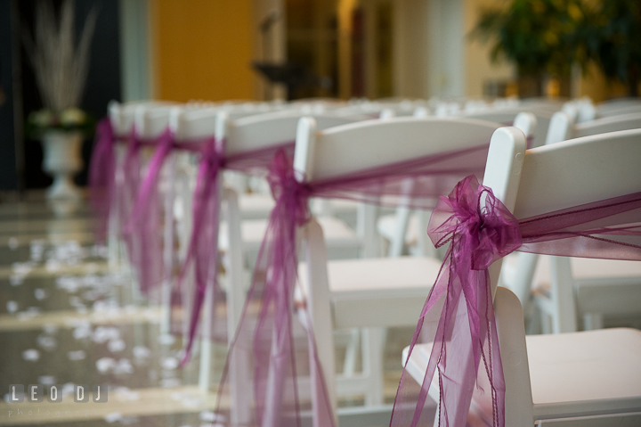 Detail shot of the chair decorations with ribbons. Falls Church Virginia 2941 Restaurant wedding ceremony photo, by wedding photographers of Leo Dj Photography. http://leodjphoto.com