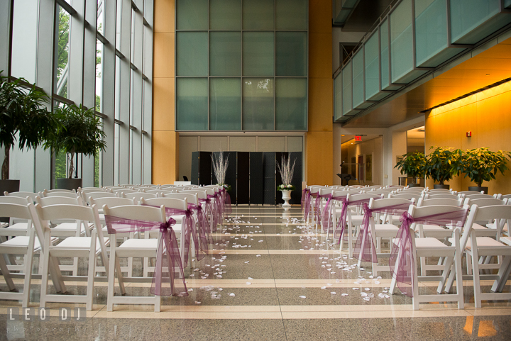 Wide shot of the room setting for the ceremony. Falls Church Virginia 2941 Restaurant wedding ceremony photo, by wedding photographers of Leo Dj Photography. http://leodjphoto.com