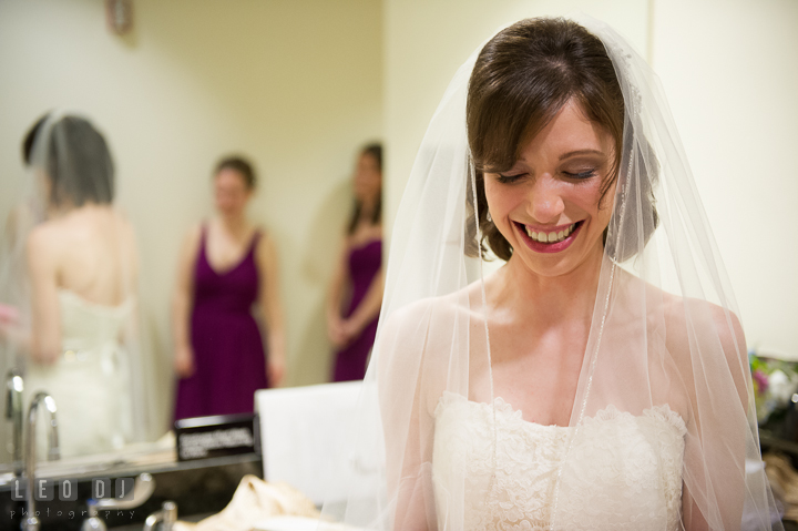 Bride smiling reading card from Groom. Falls Church Virginia 2941 Restaurant wedding ceremony photo, by wedding photographers of Leo Dj Photography. http://leodjphoto.com