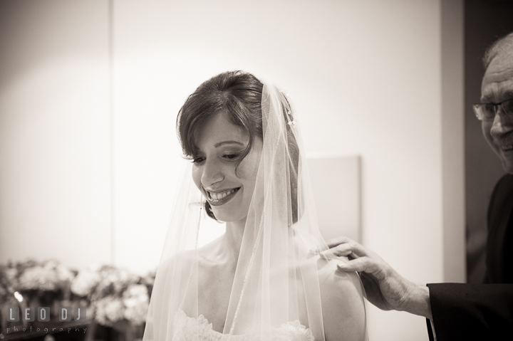 Bride waiting for Dad to see her for the first time in Wedding dress. Falls Church Virginia 2941 Restaurant wedding ceremony photo, by wedding photographers of Leo Dj Photography. http://leodjphoto.com