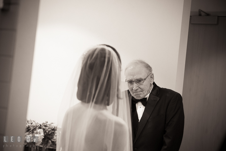 Father of Bride seeing daughter for the first time in her wedding dress. Falls Church Virginia 2941 Restaurant wedding ceremony photo, by wedding photographers of Leo Dj Photography. http://leodjphoto.com