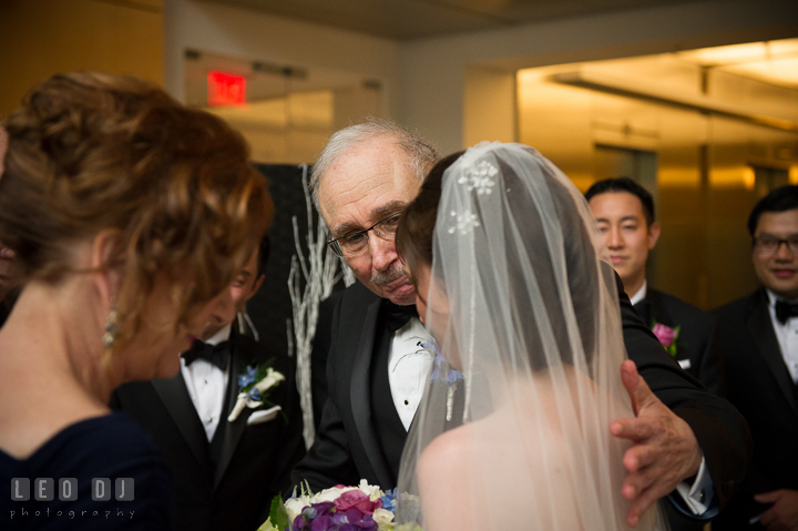 Father of Bride emotional while giving away daughter. Falls Church Virginia 2941 Restaurant wedding ceremony photo, by wedding photographers of Leo Dj Photography. http://leodjphoto.com