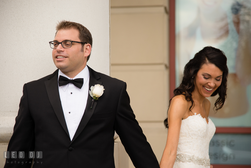 Bride and Groom talking to each other before their first glance. Loews Annapolis Hotel Maryland wedding, by wedding photographers of Leo Dj Photography. http://leodjphoto.com