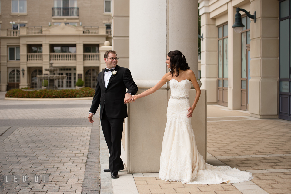 Bride and Groom seeing each other during their first look. Loews Annapolis Hotel Maryland wedding, by wedding photographers of Leo Dj Photography. http://leodjphoto.com