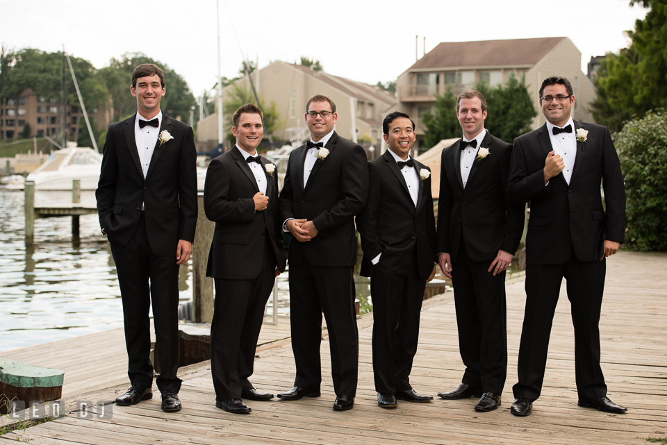 Groom posing with Best Man and Groomsmen. Loews Annapolis Hotel Maryland wedding, by wedding photographers of Leo Dj Photography. http://leodjphoto.com