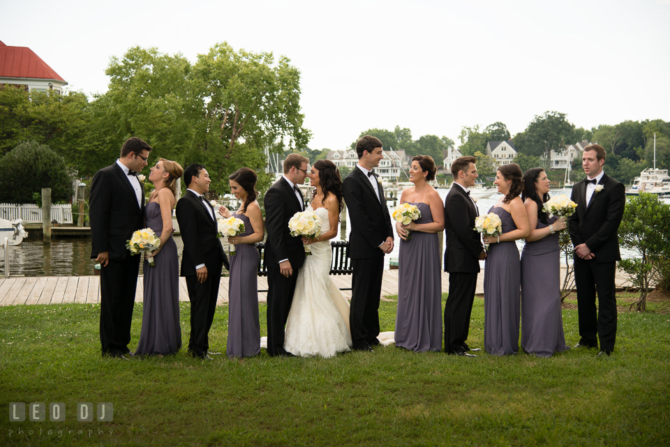 Bride and Groom with the whole wedding bridal party. Loews Annapolis Hotel Maryland wedding, by wedding photographers of Leo Dj Photography. http://leodjphoto.com