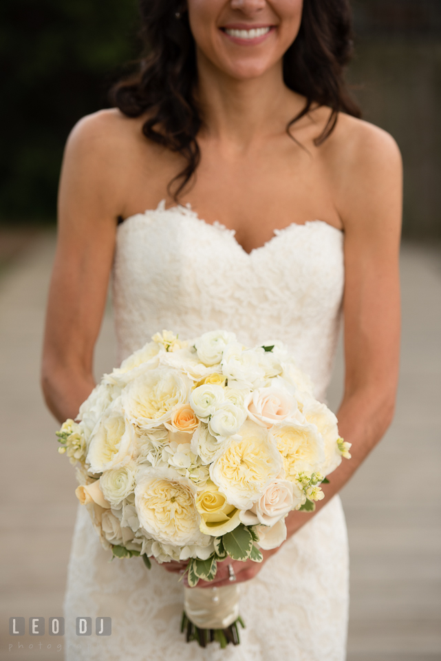 Gorgeous big white flower bouquet held by the Bride. Loews Annapolis Hotel Maryland wedding, by wedding photographers of Leo Dj Photography. http://leodjphoto.com