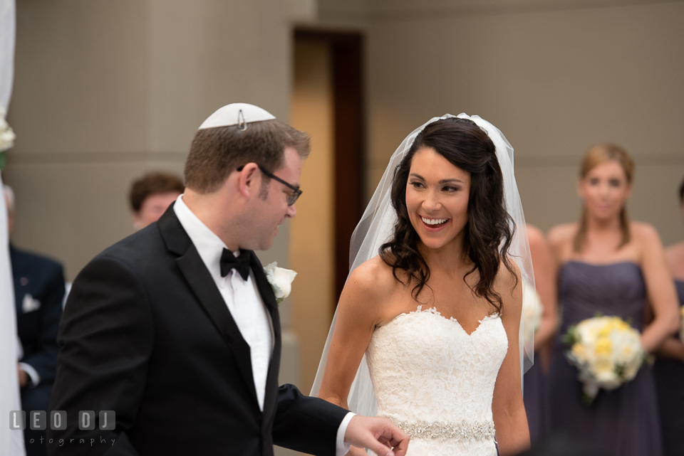Groom circling Bride before entering the chuppah. Loews Annapolis Hotel Maryland wedding, by wedding photographers of Leo Dj Photography. http://leodjphoto.com
