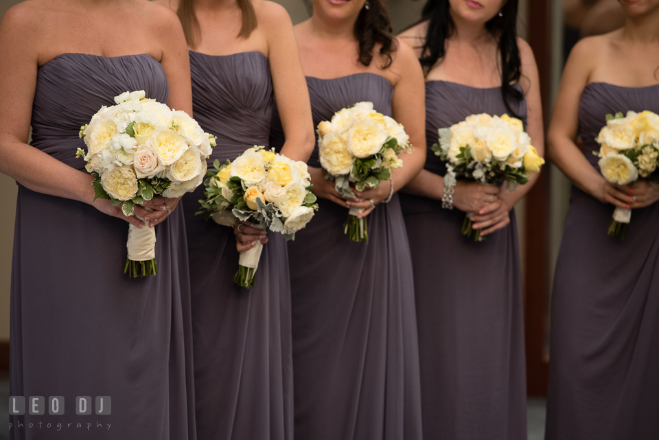 Maid of Honor and Bridesmaids holding their bouquets during the ceremony. Loews Annapolis Hotel Maryland wedding, by wedding photographers of Leo Dj Photography. http://leodjphoto.com