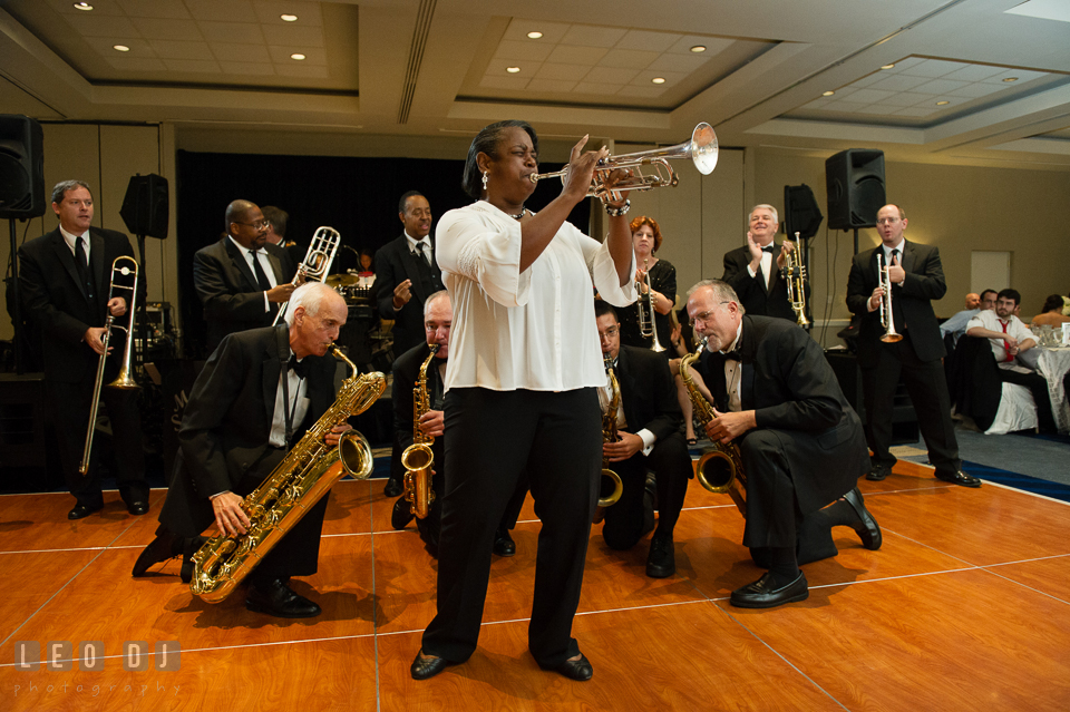 Mood Swings Band performing live with woodwinds, brass and trumpet solo. Loews Annapolis Hotel Maryland wedding, by wedding photographers of Leo Dj Photography. http://leodjphoto.com