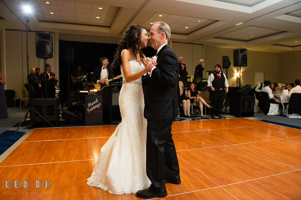 Father-daughter dance accompanied with music by mood swings. Loews Annapolis Hotel Maryland wedding, by wedding photographers of Leo Dj Photography. http://leodjphoto.com