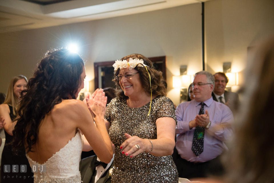 Mother of Groom happy to receive crown during Krenzel ritual. Loews Annapolis Hotel Maryland wedding, by wedding photographers of Leo Dj Photography. http://leodjphoto.com