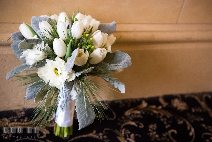 Bride's flower bouquet with white rose and tulips. The Ballroom at The Chesapeake Inn wedding ceremony photos, Chesapeake City, Maryland by photographers of Leo Dj Photography.