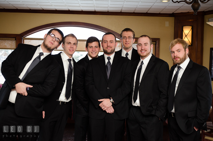Groom, best man, and groomsmen posing. The Ballroom at The Chesapeake Inn wedding ceremony photos, Chesapeake City, Maryland by photographers of Leo Dj Photography.
