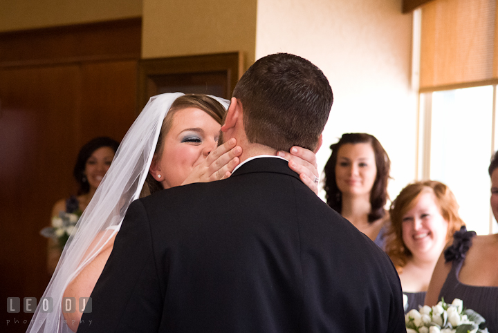 Bride and Groom kissed each other. The Ballroom at The Chesapeake Inn wedding ceremony photos, Chesapeake City, Maryland by photographers of Leo Dj Photography.