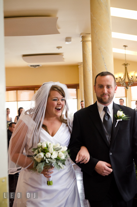 Bride and Groom happily walked out of the isle. The Ballroom at The Chesapeake Inn wedding ceremony photos, Chesapeake City, Maryland by photographers of Leo Dj Photography.