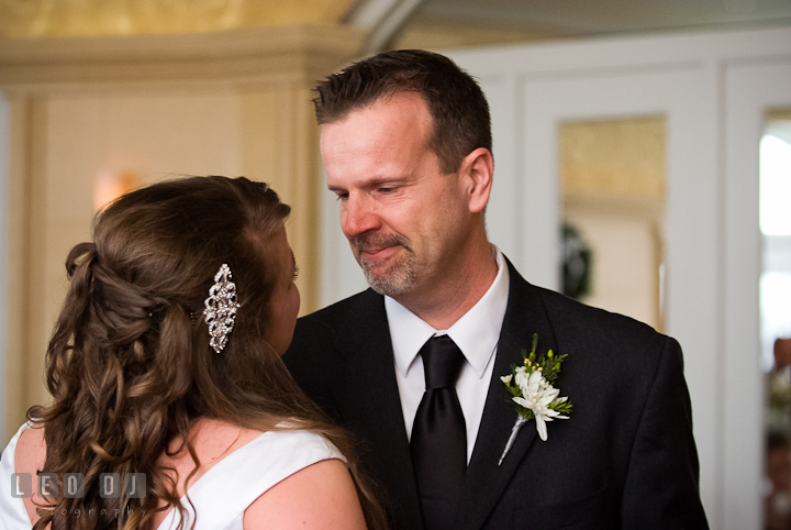 Father of the Bride emotional while dancing with daughter. The Ballroom at The Chesapeake Inn wedding reception photos, Chesapeake City, Maryland by photographers of Leo Dj Photography.