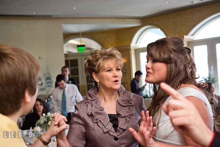 Mother of the Bride and her daughter singing along. The Ballroom at The Chesapeake Inn wedding reception photos, Chesapeake City, Maryland by photographers of Leo Dj Photography.