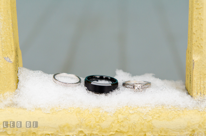 Wedding bands and engagement ring. The Ballroom at The Chesapeake Inn wedding reception photos, Chesapeake City, Maryland by photographers of Leo Dj Photography.