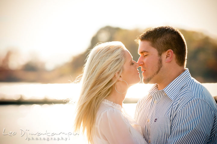 Fiancé and his fiancée almost kissed. Stevensville, Kent Island, Maryland, Pre-Wedding Engagement Photographer, Leo Dj Photography