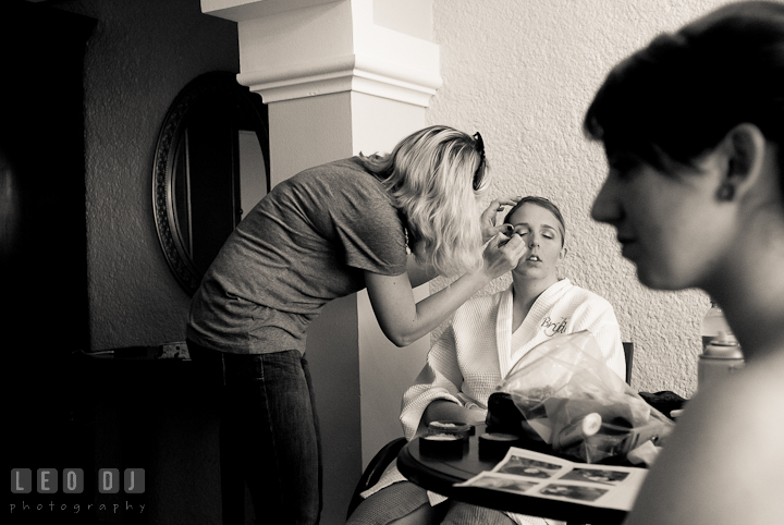 Bride and Matron of Honor getting make up and hair done. Cruise ship destination wedding ceremony photos, Hotel Melia Cozumel Mexico by photographers of Leo Dj Photography.