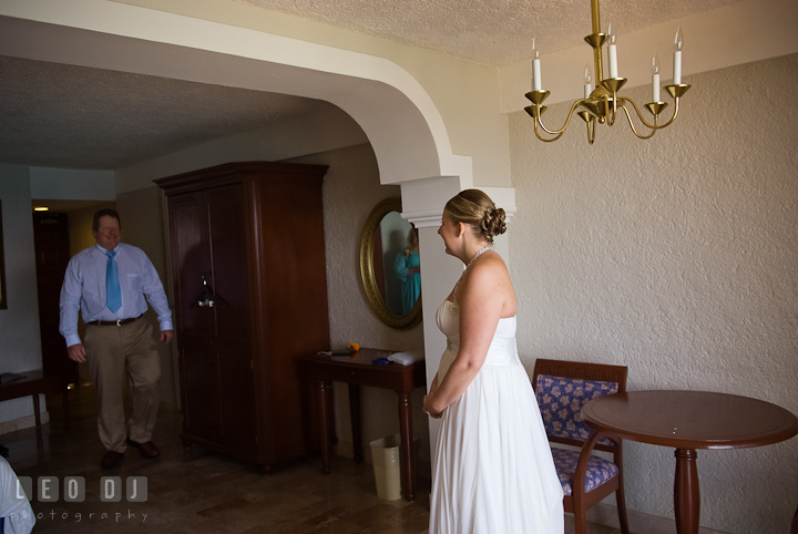 Bride meeting his Fahter one last time before walking down the isle. Cruise ship destination wedding ceremony photos, Hotel Melia Cozumel Mexico by photographers of Leo Dj Photography.