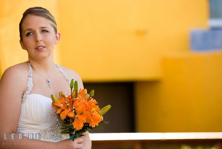 Bride anxiously waiting for Groom during first glance. Cruise ship destination wedding ceremony photos, Hotel Melia Cozumel Mexico by photographers of Leo Dj Photography.