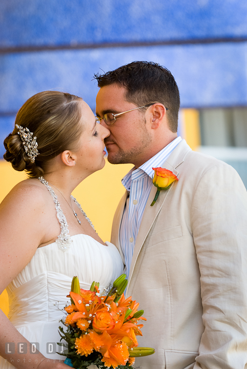 Bride and Groom almost kissed during first glance. Cruise ship destination wedding ceremony photos, Hotel Melia Cozumel Mexico by photographers of Leo Dj Photography.