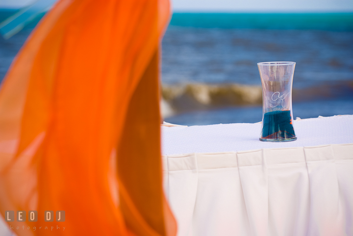 Unity sand with the sea in the background. Carnival Cruise ship destination wedding reception photos of Jessica and Chad, Cozumel Mexico by photographers of Leo Dj Photography.