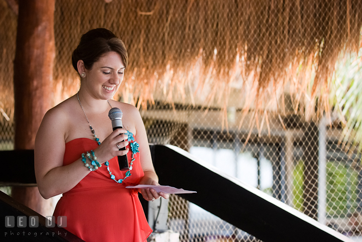 Matron of honor delivering speech. Carnival Cruise ship destination wedding reception photos of Jessica and Chad, Cozumel Mexico by photographers of Leo Dj Photography.