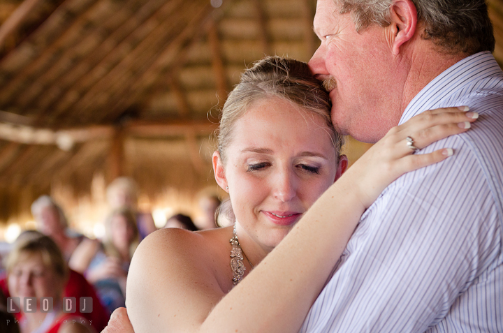 Bride gets emotional during dance with Father. Carnival Cruise ship destination wedding reception photos of Jessica and Chad, Cozumel Mexico by photographers of Leo Dj Photography.