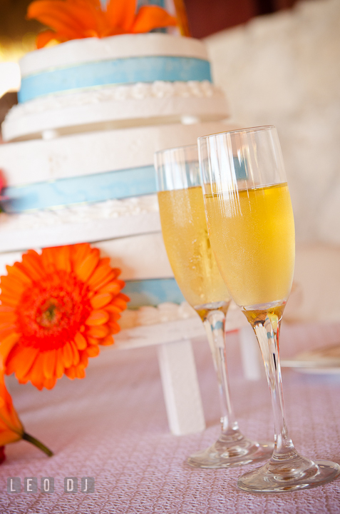 Champagne glasses with cake in the background. Carnival Cruise ship destination wedding reception photos of Jessica and Chad, Cozumel Mexico by photographers of Leo Dj Photography.