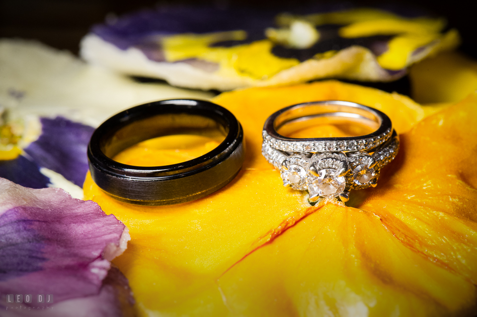 Wedding bands and engagement ring at Kent Manor Inn photo by Leo Dj Photography