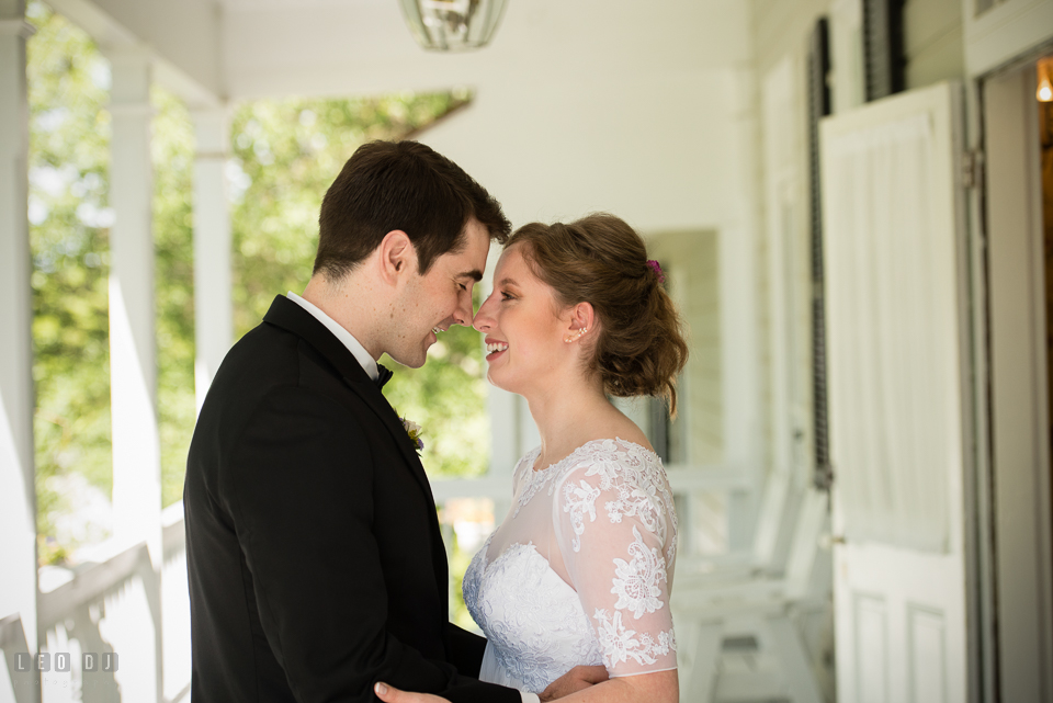 Kent Manor Inn Maryland Groom first look with Bride photo by Leo Dj Photography