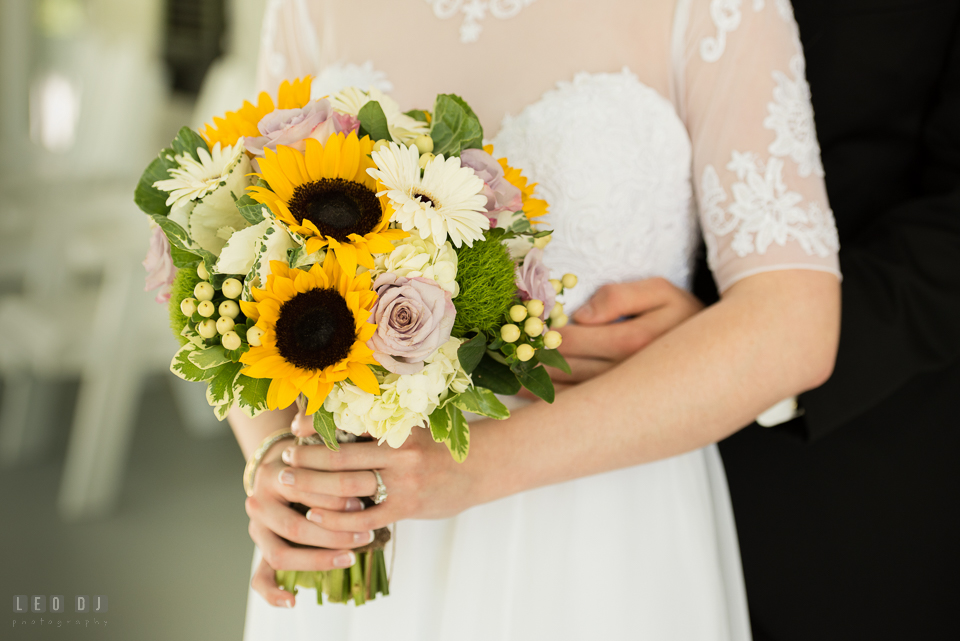 Kent Manor Inn Maryland bride holding wedding bouquet by florist Fleur De Lis photo by Leo Dj Photography