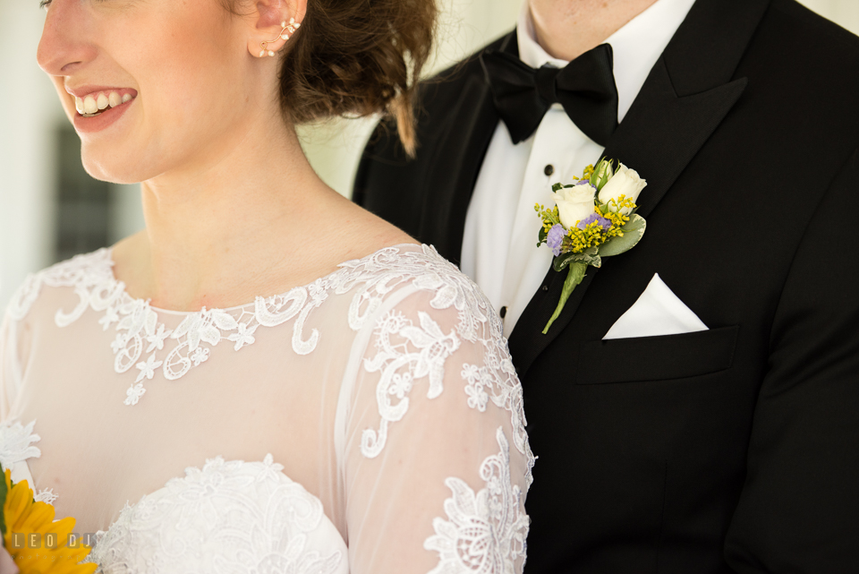 Kent Manor Inn Maryland Groom wearing boutonniere by florist Fleur De Lis photo by Leo Dj Photography