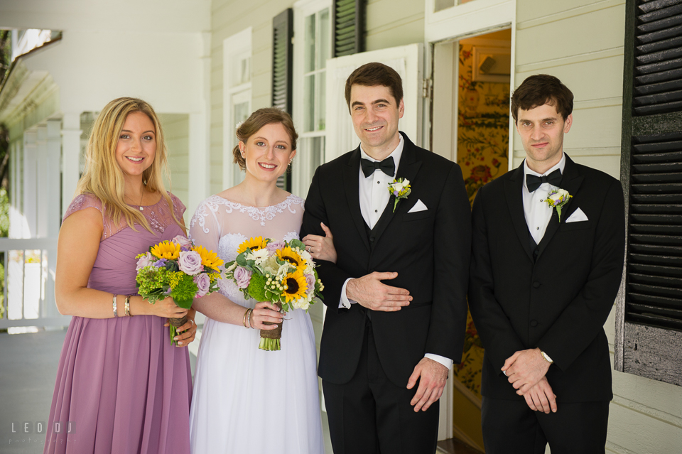 Kent Manor Inn wedding party Bride, Groom, Maid of Honor, and Best Man by Leo Dj Photography