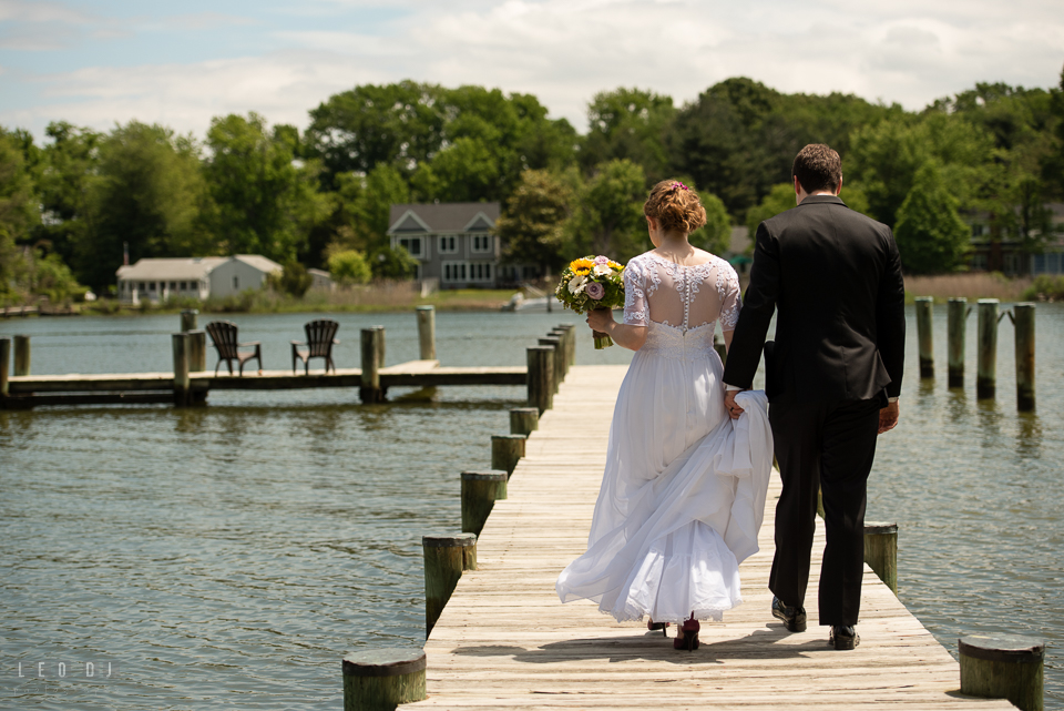 Kent Island Maryland Bride and Groom walking on boat pier dock photo by Leo Dj Photography